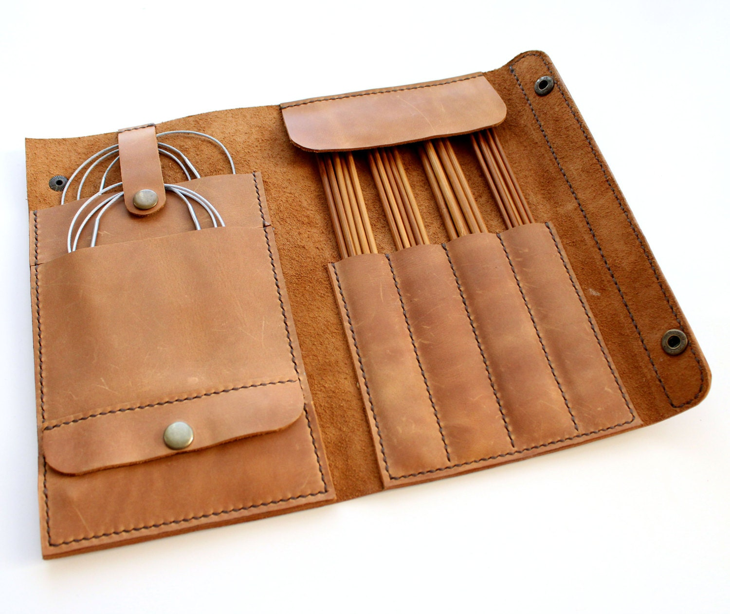 Knitting Needle Storage Case Pattern : Leather needle case handmade knitting organizer
