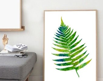 Watercolor Painting, Fern print, Botanical watercolor, Botanical painting, Leaf print, Wall art, Wall decor, Green, Large watercolor print