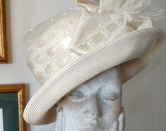 Whittall & Shon Ladies' Hat/ Off-white/ Damask Netting Sequins Pearls Ostrich Pom/ Queen of England Hat/ Wedding Hat/ Costume