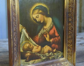 French Vintage Religious Icon, Madonna and Child, Christianity, Faith, Icon, Jesus, Mary, Gold Frame, Vintage