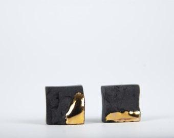 black porcelain earrings, square stud earrings, earrings for men, casual earrings, black and gold, minimal earrings, simple earrings