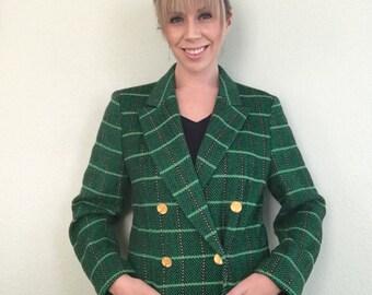 Escada Vintage Luxury Authentic  Margaretha Ley Double Breasted Blazer Plaid Green, Gold, Black Size 34/4