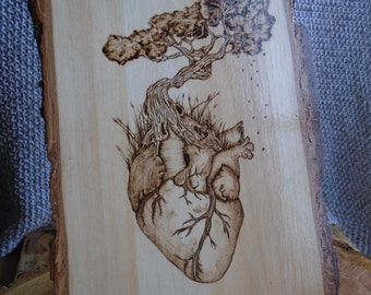 Heart Tree, Pyrography Wooden Plaque