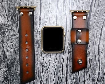 Leather apple watch band 42mm / 38mm // Tan iwatch band - apple watch accessories - apple watch strap leather - rose gold lugs adapter