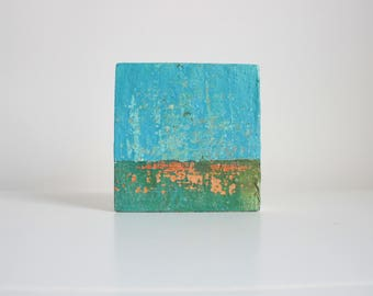 Small ABSTRACT painting | Contemporary Painting | Mini Art | Mixed Media Art | Wall Art  | Miniature Painting | Seascape | Textured 4''x 4''