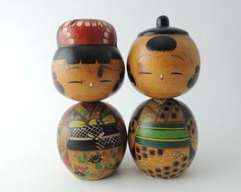 Vintage kokeshi doll, refA2, set of 2