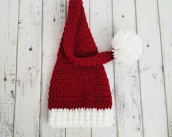 Crochet Christmas Elf Hat, Newborn Elf Hat, Santa Hat, Winter Hat, Striped Hat, Newborn Baby Elf HatLong Tail Hat, Sleepy Cap, MADE 2 ORDER
