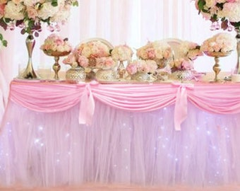 Tulle Tutu Table Skirt with Satin Swag