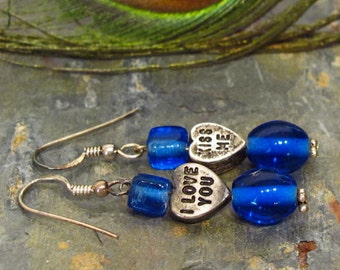 "Valentine Earrings ~ Candy Heart Dangle Earrings with Cobalt Blue Glass Beads ~ ""I love you"" and ""Kiss me"" - Sterling Silver"