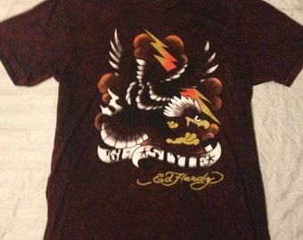 Ed Hardy Burgundy Shirt, Stonewashed, Sailor Jerry Designed