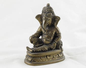 Brass Ganesha Statue, Small Ganesh Statue, Elephant Brass Statue, Meditation Statue, Antique Home Decor, Alter Ornament Old Hindu God #1683