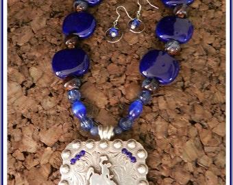 Blue Stones Bucking Horse Concho Pendant Necklace