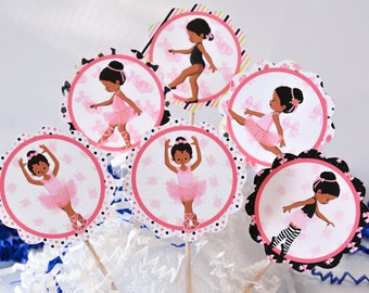 African American Ballerina Cake Toppers, Pink Ballerina Cupcake, Ballerina Baby Shower, Ballerina Birthday Party Supplies