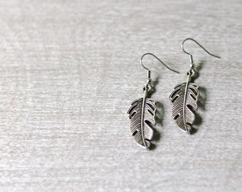 "Silver Feather Earrings / Metal / 2"" Hanging"