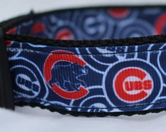 """Chicago Cubs Dog Collar - Side Release Buckle (1"""" Width) - Martingale Available"""
