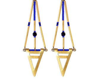 Earrings Egypt black agate and blue cobalt miyuki by Madame Arlette