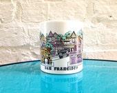 1980's San Francisco Mug / 1983 Carol Foldvary Illustration / Pastel / Cartoon / Souvenir / California / Pink Black White / Large / Trolley