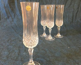 Vintage Cristal D'Arques Longchamp Champagne Flutes, Set of 4