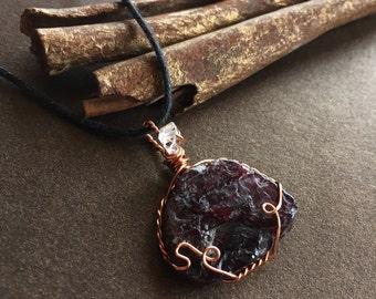Garnet and Herkimer Diamond Necklace
