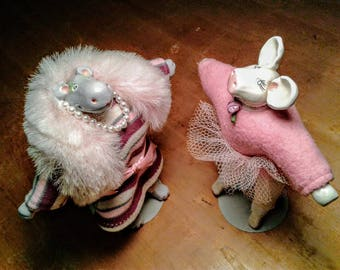 Two 1980's Dolls SIGNED by Artist Hippo Lady Pig Ballerina Pearls Tutu Ceramic Porcelain Plush Toy Doll Cute Fancy Gift Pink Art Collectible