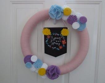 Spring Yarn Wreath, Easter Yarn Wreath, Everyday Yarn Wreath, Spring Wreath, Easter Wreath, Easter Decor, Hoppy Easter, Spring Decor