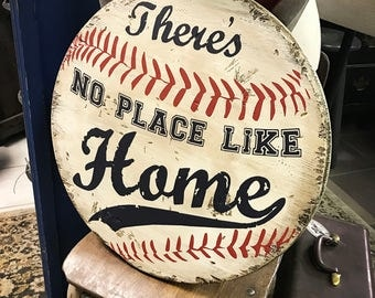 There's No Place Like Home * Wooden Sign * Baseball * Home Base * SHIPS FREE! * Handmade * Home Run
