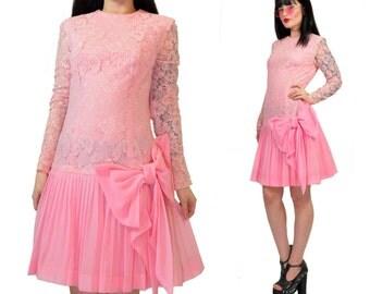 vintage 60s pink lace mini dress drop waist bow pleated party dress babydoll mod flapper lolita  accordion pleat Small