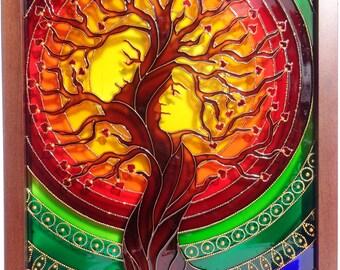 Tree art Family tree art Love tree Glass painting Painted glass Tree of life art Wall decor