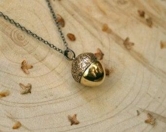 Brass Acorn Necklace: Golden Acorn Pendant,  Gold Acorn Charm, Woodland Necklace, Chunky Acorn Charm, Nature Jewellery, Woodland pendant