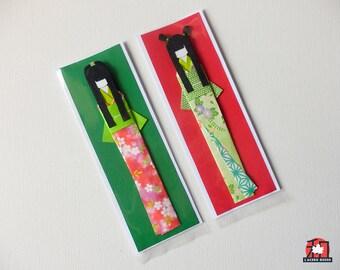 Origami Bookmark, segnalibro in origami con kokeshi, bamboline giapponesi di carta