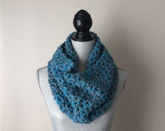 Teal and Gray Crocheted Cowl
