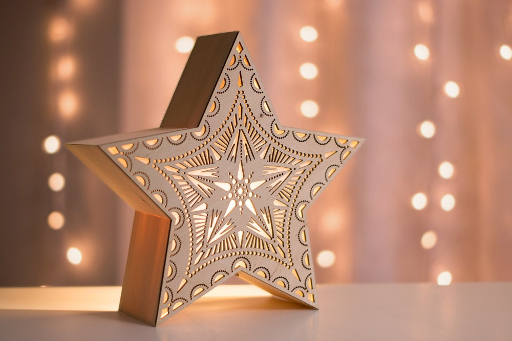 Star night light laser cut wood lantern wooden accent lamp for Night light design