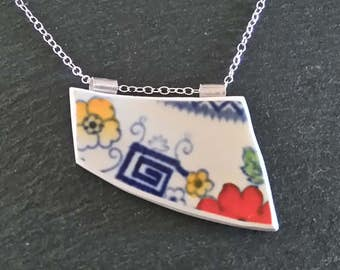 Wife Statement Jewelry, Wife Necklace, Unusual Necklaces, Artistic Necklaces, Broken China Pendant, Broken China Jewelry, Unusual Pendant