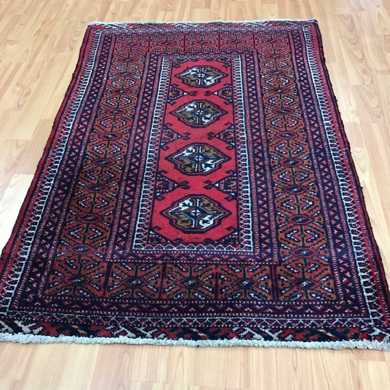 "2'7"" x 3'8"" Antique Persian Turkeman Oriental Rug - 1930s - Hand Made - 100% Wool"