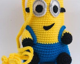 Handmade crochet bag, crocheted purse, minion purse