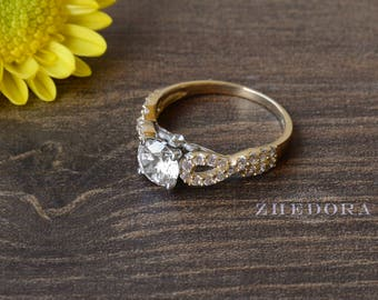 1.40 CT Round Cut Halo Engagement Ring Bridal Band Solid 14k White/Yellow Gold, Unique Wedding Ring, Anniversary Ring