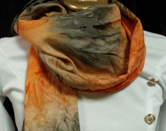 scarves fall/scarf brown/black scarf/orange tie dye/winter scarf/long scarves/handmade scarves/scarves and wraps/stoles/wraps/caplet/scarves