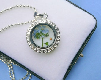 Forget Me Not Mustard Faith Seed Necklace