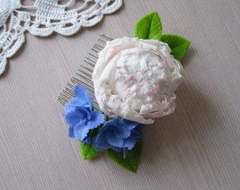 Spring wedding hair comb Bridal hair comb Flower comb Floral comb Bridal comb Wedding comb White peony hair clip Flower hair piece Hydrangea