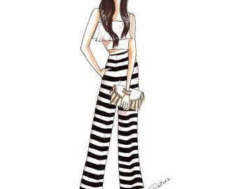 """Fashion illustration """"Gaby"""" printable illustration, digital fashion illustration, printable art, fashion clipart, comercial use"""