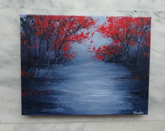 Atmospheric Surreal Landscape Painting Fall Winter Landscape Lake Black and White Red Trees Original Painting on Canvas