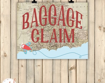Vintage Travel Airplanes Birthday Party Sign, Baggage Claim Sign, Around the World Theme Decor, Baby Shower Decor, Old Maps Decor, Digital