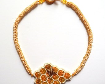 Bead Embroidery Necklace, Honeycomb and Bee Necklace, Orange and Yellow Bead Embroidered Necklace