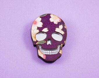 Purple Skull Mirror Brooch