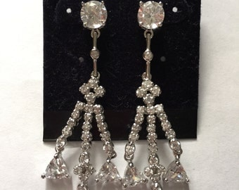 Sterling Silver CZ Dangle Pierced Earrings New Old Stock