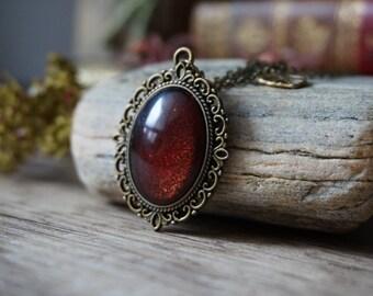 "Necklace ""Red Glitter Leaf"""