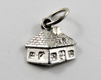 Small 3 D House Sterling Silver Charm or Pendant.