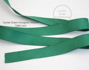 Hunter Green Ribbon, Hunter Grosgrain Ribbon, 7/8th Inch, 3/5/10 Yards, Green Ribbon, Grosgrain Ribbon, Green Hair Bow, Hair Bow Ribbon
