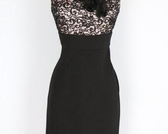 1990s Dress - Black Lace Party Dress - LBD - Embellished Ribbon Sequin Neckline - Sleeveless - Elegant Classic Evening Cocktail Dress - S/M