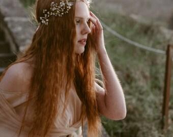 "Wedding ""Sage crown"", bridal headpiece, hairvine, flower crown, vintage hairstyle, Made in italy"